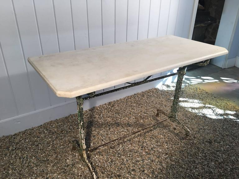 French Art Nouveau Cast Iron Table With Antique Marble Top In Good Condition For