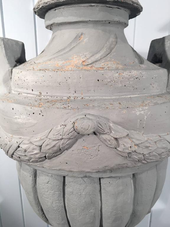 Cast Stone Greek-Form Solid Urn on 19the Century Terracotta Pedestal In Good Condition For Sale In Woodbury, CT