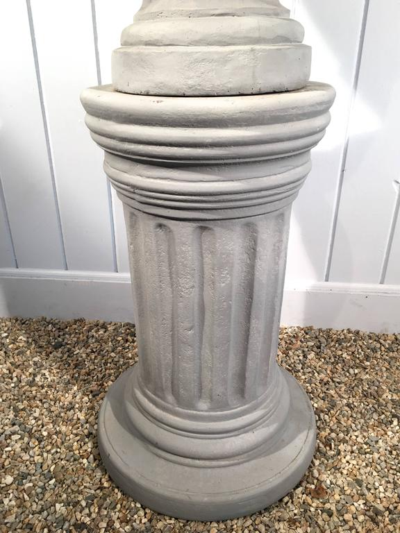 Cast Stone Greek-Form Solid Urn on 19the Century Terracotta Pedestal For Sale 1