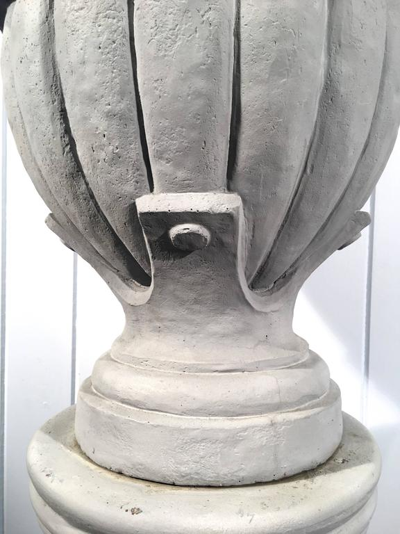 19th Century Cast Stone Greek-Form Solid Urn on 19the Century Terracotta Pedestal For Sale