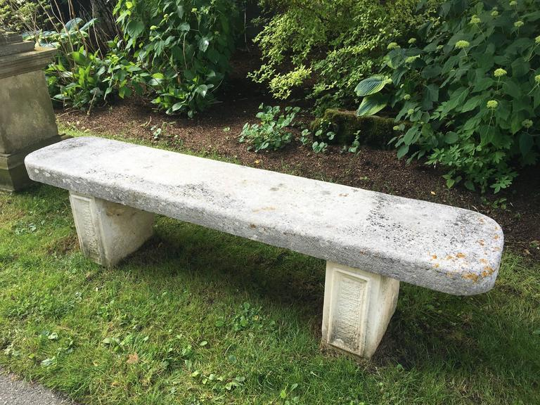 Elegant 19th Century French Limestone Bench For Sale 1