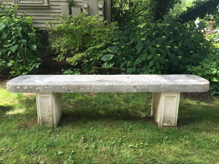 Hand-Carved Elegant 19th Century French Limestone Bench For Sale