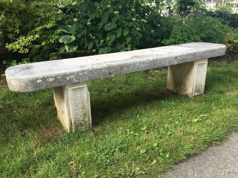 Elegant 19th Century French Limestone Bench In Excellent Condition For Sale In Woodbury, CT