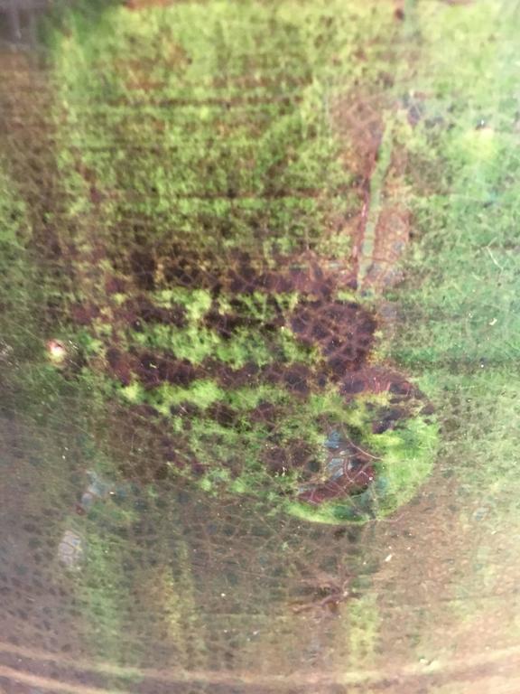 Stunning French Dark Green Glazed Terracotta Planter or Pot For Sale 1