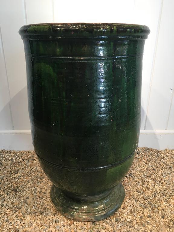 Finnish Stunning French Dark Green Glazed Terracotta Planter or Pot For Sale
