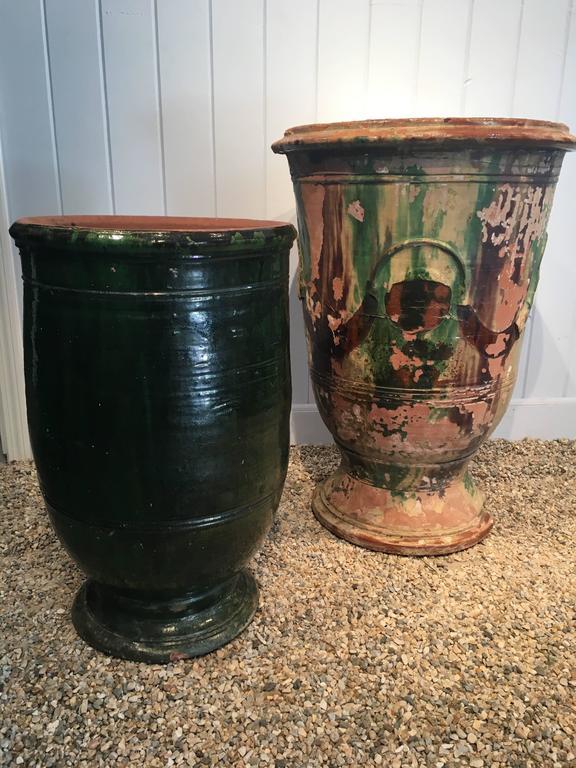 Stunning French Dark Green Glazed Terracotta Planter or Pot For Sale 4