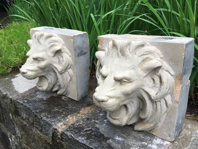Neoclassical Revival Pair of 19th Century Stoneware Lion Fountain Masks For Sale