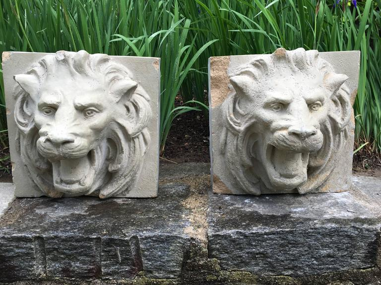 This decorative pair of glazed stoneware lion heads originally graced the facade of a 19th century building, but we have drilled them to operate as fountain masks. Hung above your wall fountain or emptying into a stone trough they add a classical