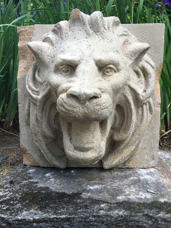 Pair of 19th Century Stoneware Lion Fountain Masks In Fair Condition For Sale In Woodbury, CT