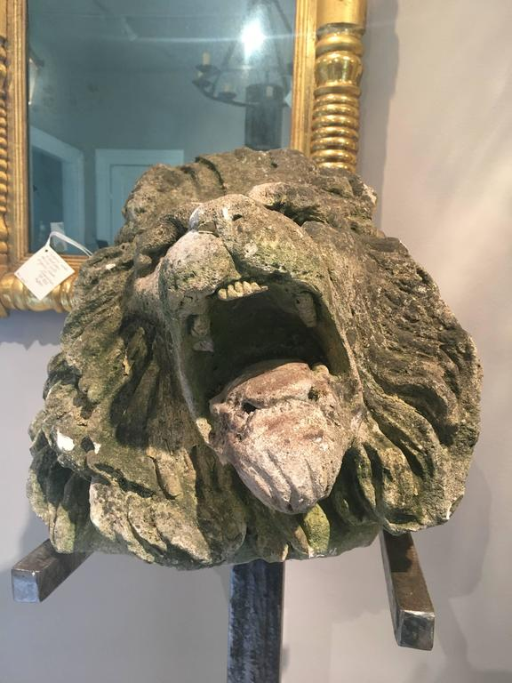 17th Century Limestone Lion's Head on Contemporary Polished Steel Stand In Excellent Condition For Sale In Woodbury, CT