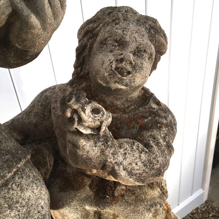 19th Century Hand-Carved Limestone Statue of Children In Good Condition For Sale In Woodbury, CT