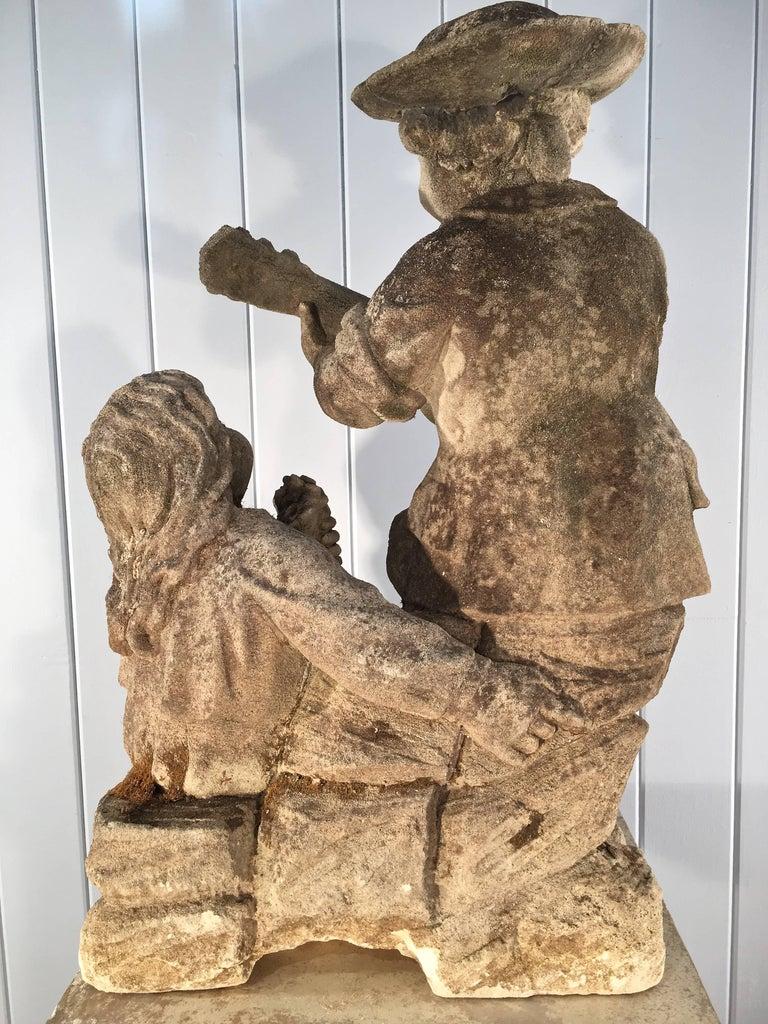 19th Century Hand-Carved Limestone Statue of Children For Sale 4