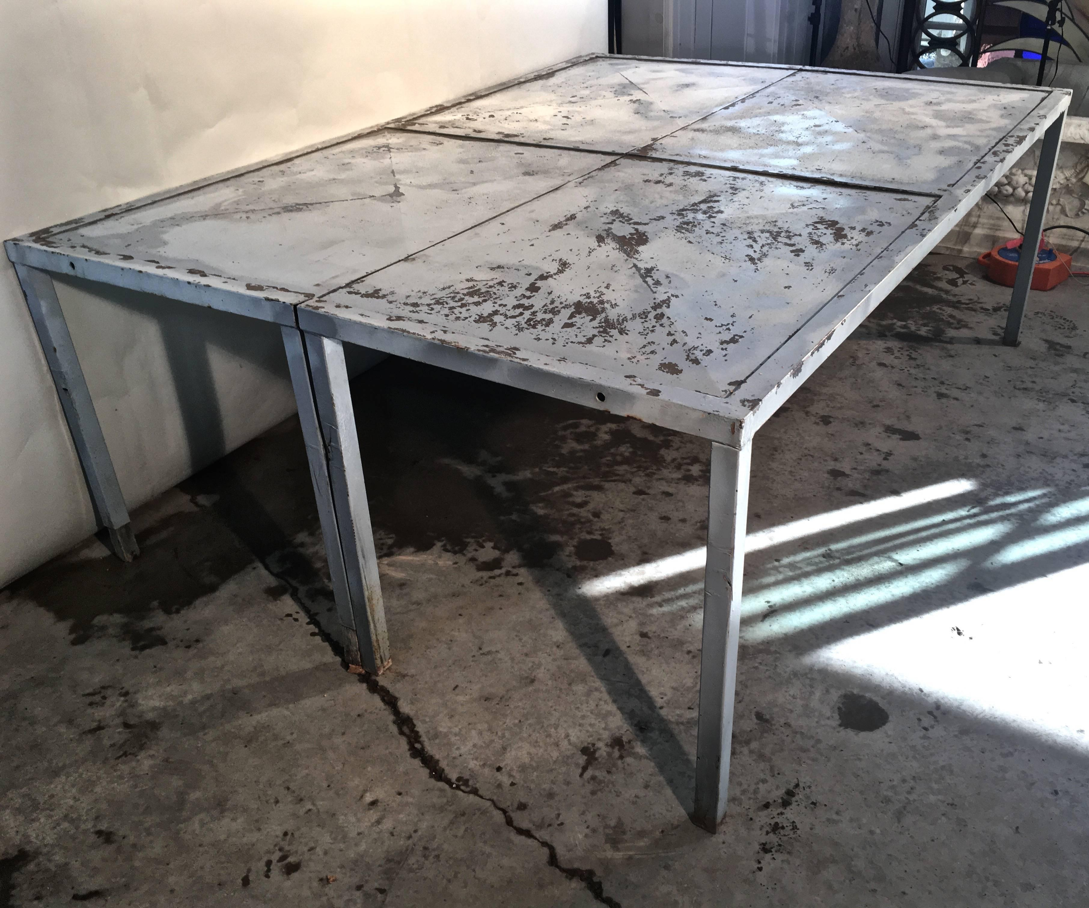 Genial Mid Century Modern Unusual French Rectangular Galvanized Steel Dining Table  For Sale