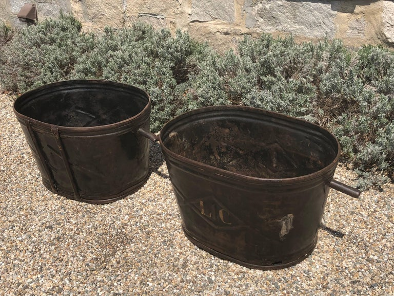 Hand-Crafted Pair of Diamond-Design French Steel Grape Bucket Planters For Sale