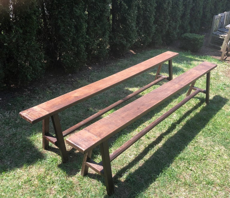 Rustic Pair of Very Long French Oak Benches For Sale