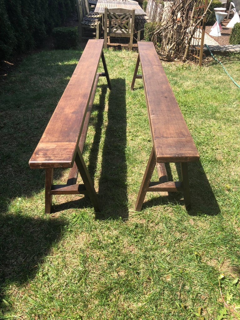 Pair of Very Long French Oak Benches In Good Condition For Sale In Woodbury, CT