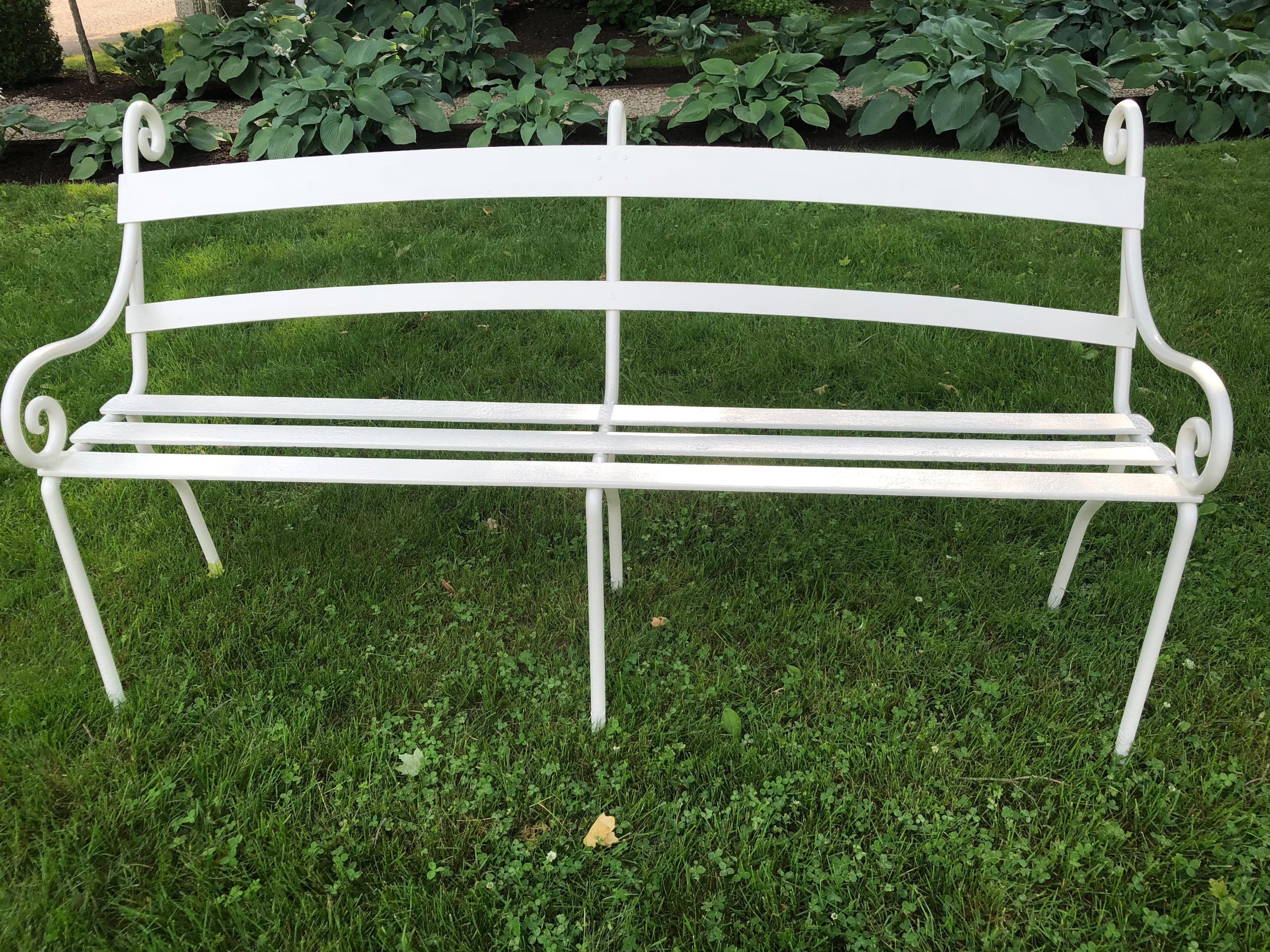 Regency Rare Scottish 19th Century Wrought Iron Garden Bench For Sale