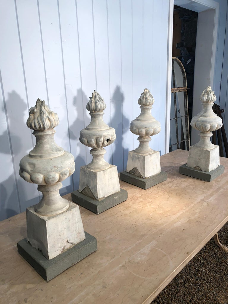 Beaux Arts Two Pairs of 19th Century French Zinc Flame Finials For Sale