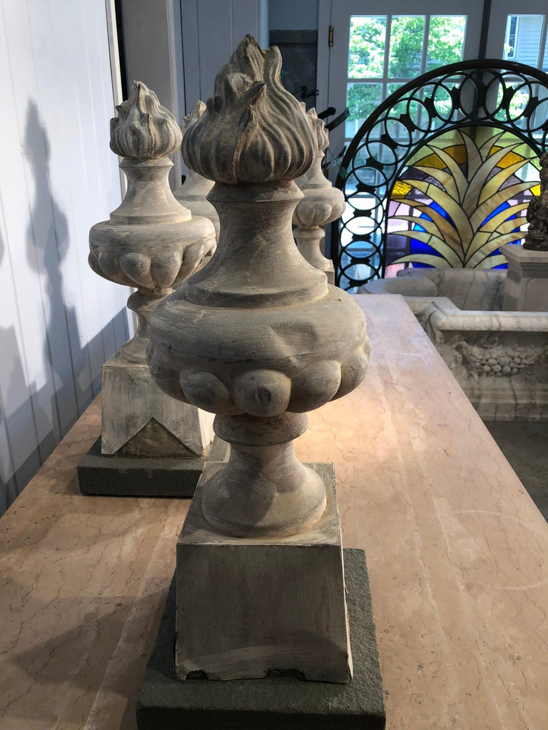 Stone Two Pairs of 19th Century French Zinc Flame Finials For Sale