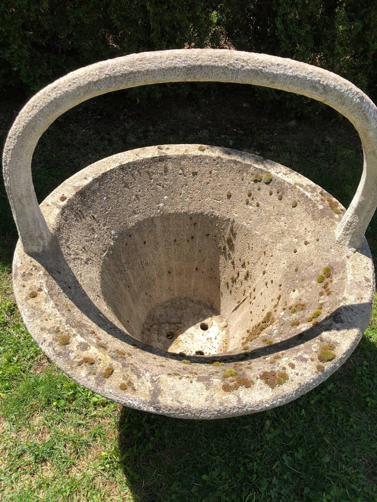 20th Century Huge Rare French Cast Stone Garden Basket For Sale