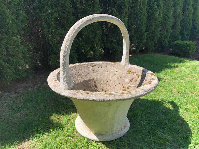 Huge Rare French Cast Stone Garden Basket For Sale 4