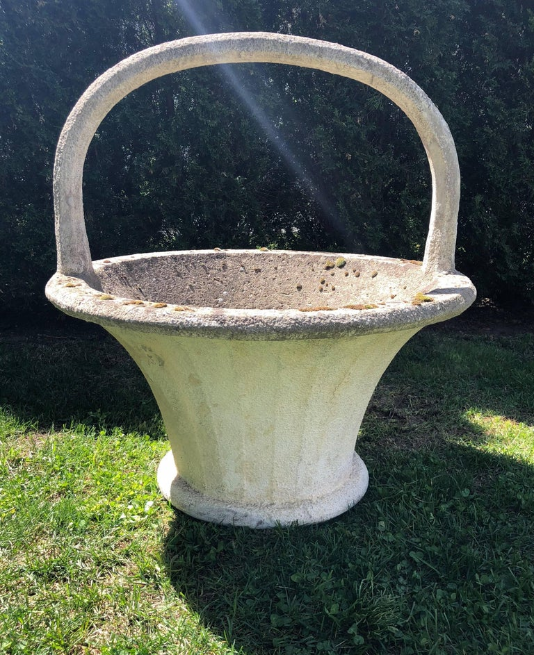 Hand-Carved Huge Rare French Cast Stone Garden Basket For Sale
