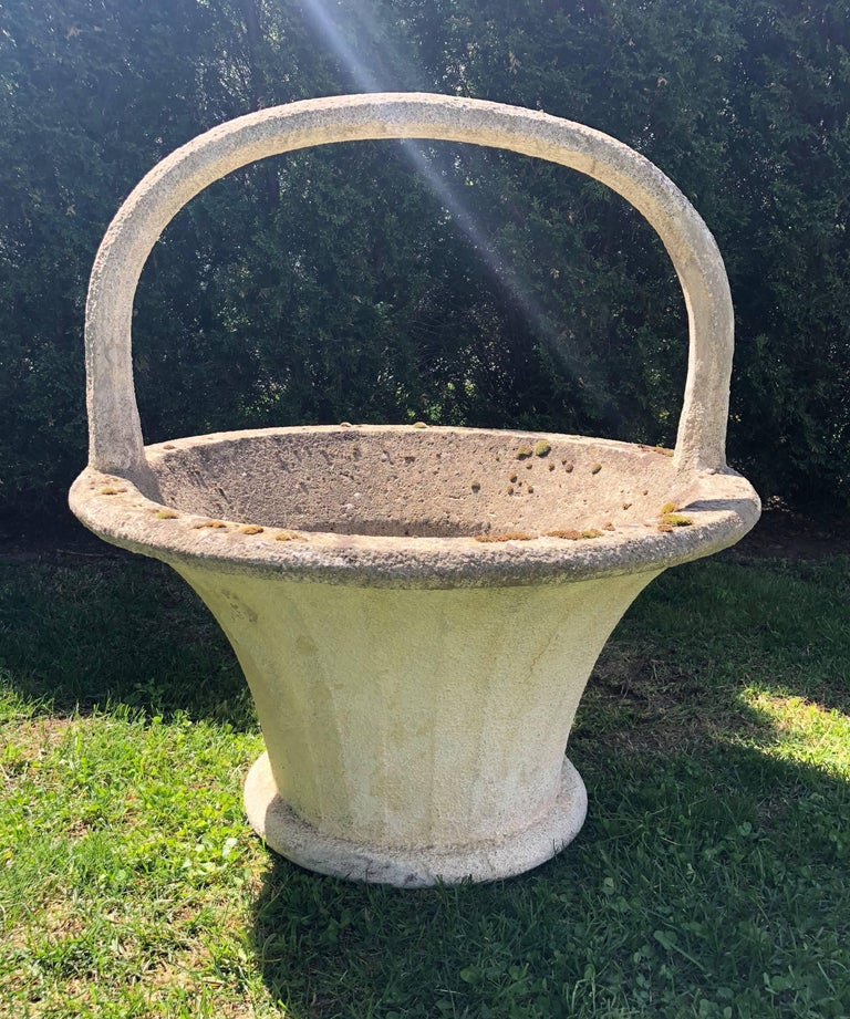 Huge Rare French Cast Stone Garden Basket In Good Condition For Sale In Woodbury, CT