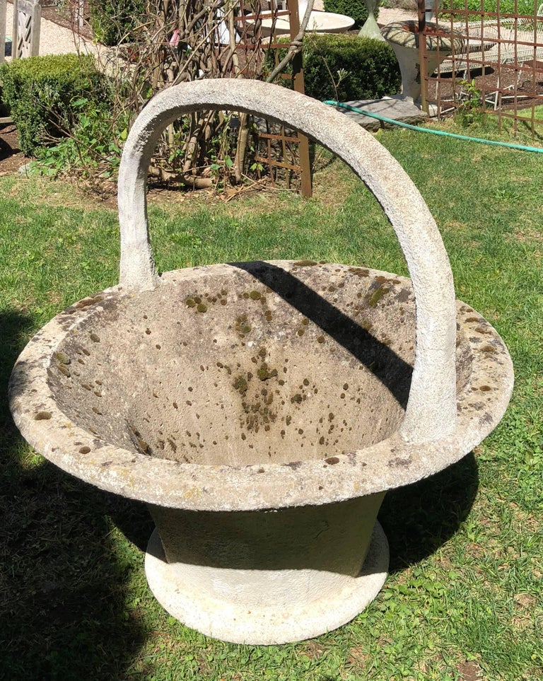 Huge Rare French Cast Stone Garden Basket For Sale 10