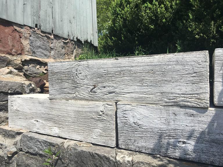 Faux Bois Cement : Set of five large mid century faux bois concrete planters