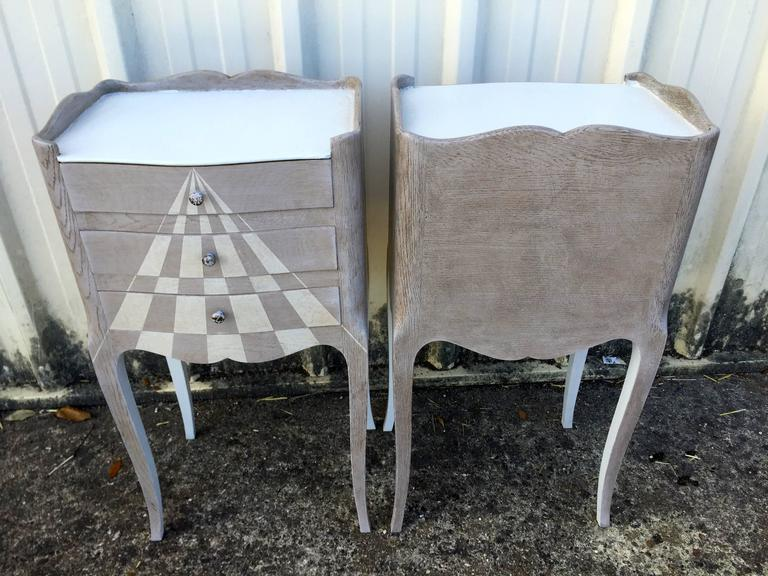 Hand-Painted Pair of Whimsical Painted French Oak Nightstands For Sale