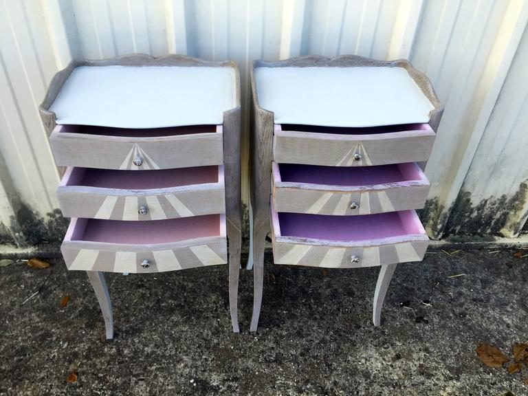 Pair of Whimsical Painted French Oak Nightstands For Sale 3