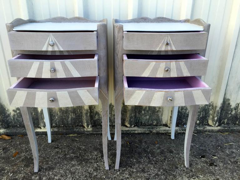 Pair of Whimsical Painted French Oak Nightstands In Fair Condition For Sale In Woodbury, CT