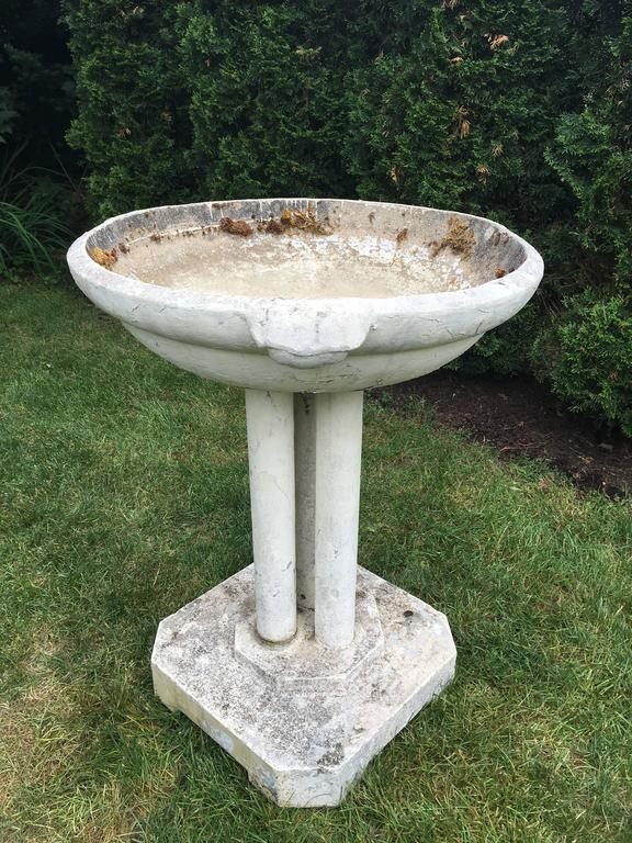 French Commanding Mid-Century Modern Cast Stone Font/Planter/Birdbath For Sale