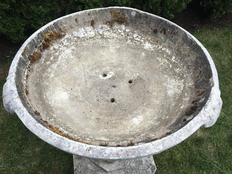 Commanding Mid-Century Modern Cast Stone Font/Planter/Birdbath In Good Condition For Sale In Woodbury, CT