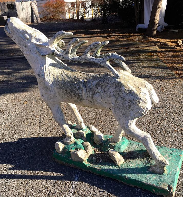 Lifesize French Cast Stone Statue of a Red Deer Stag For Sale 4
