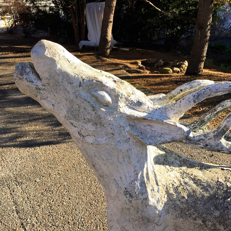 Lifesize French Cast Stone Statue of a Red Deer Stag In Good Condition For Sale In Woodbury, CT