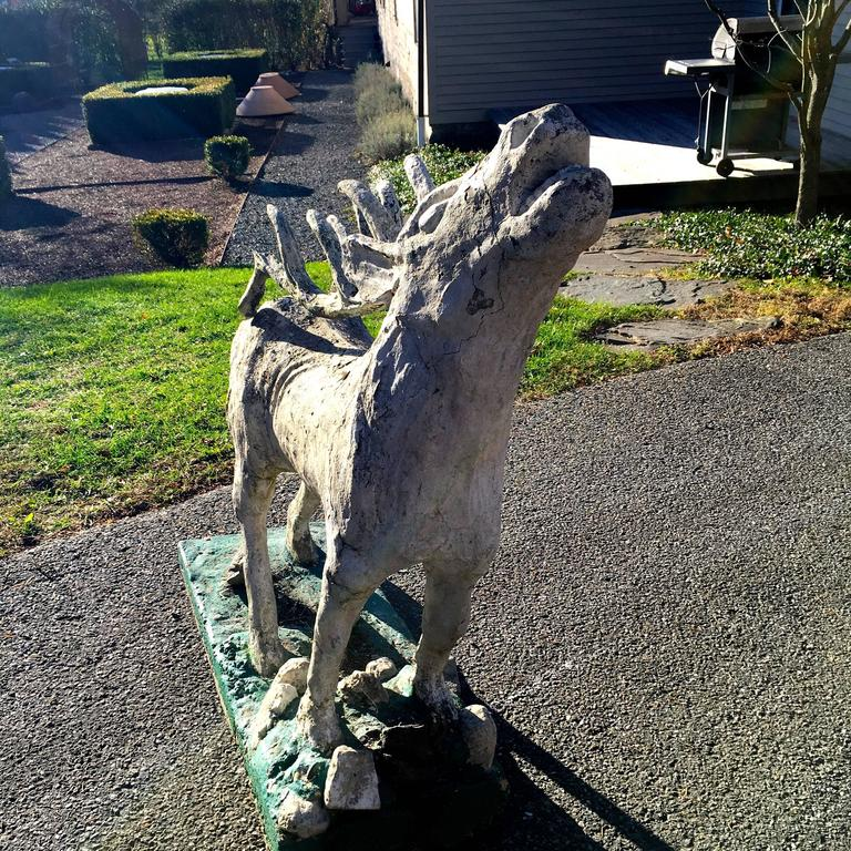 Lifesize French Cast Stone Statue of a Red Deer Stag For Sale 3
