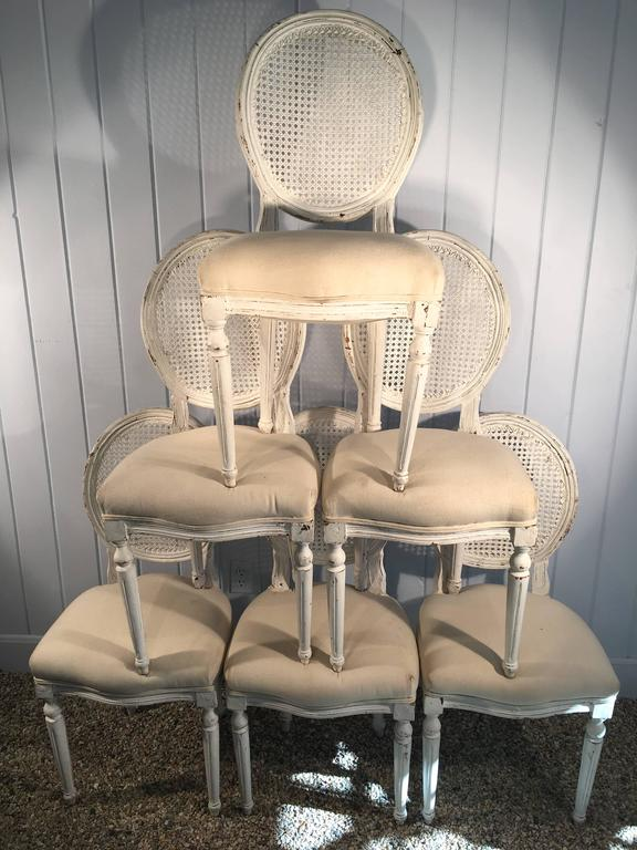 Six Louis XVI Style Painted Dining Chairs with Caned Backs For Sale 1