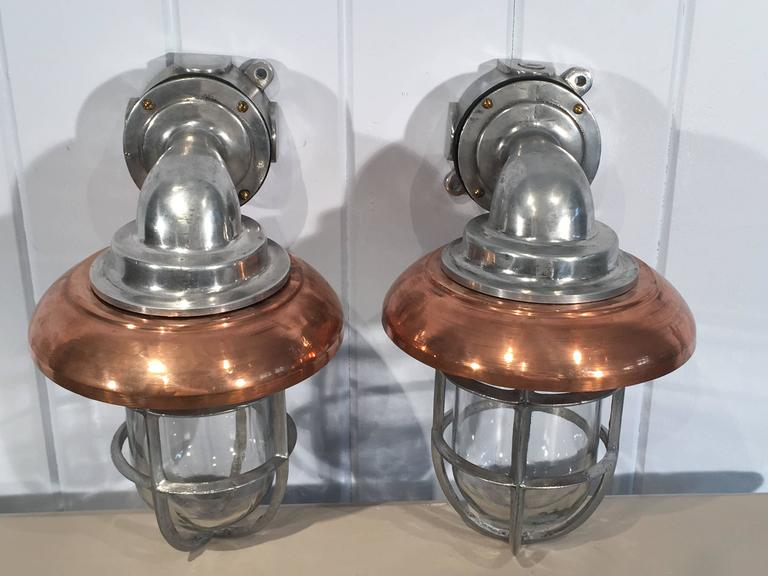 Pair of Polished Aluminum and Copper Ship's Corridor Lamps In Good Condition For Sale In Woodbury, CT