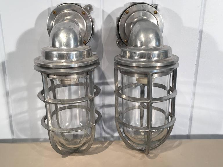 Pair of Polished Aluminum and Copper Ship's Corridor Lamps For Sale 2