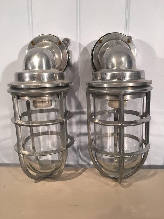 American Pair of Polished Aluminum and Copper Ship's Corridor Lamps For Sale