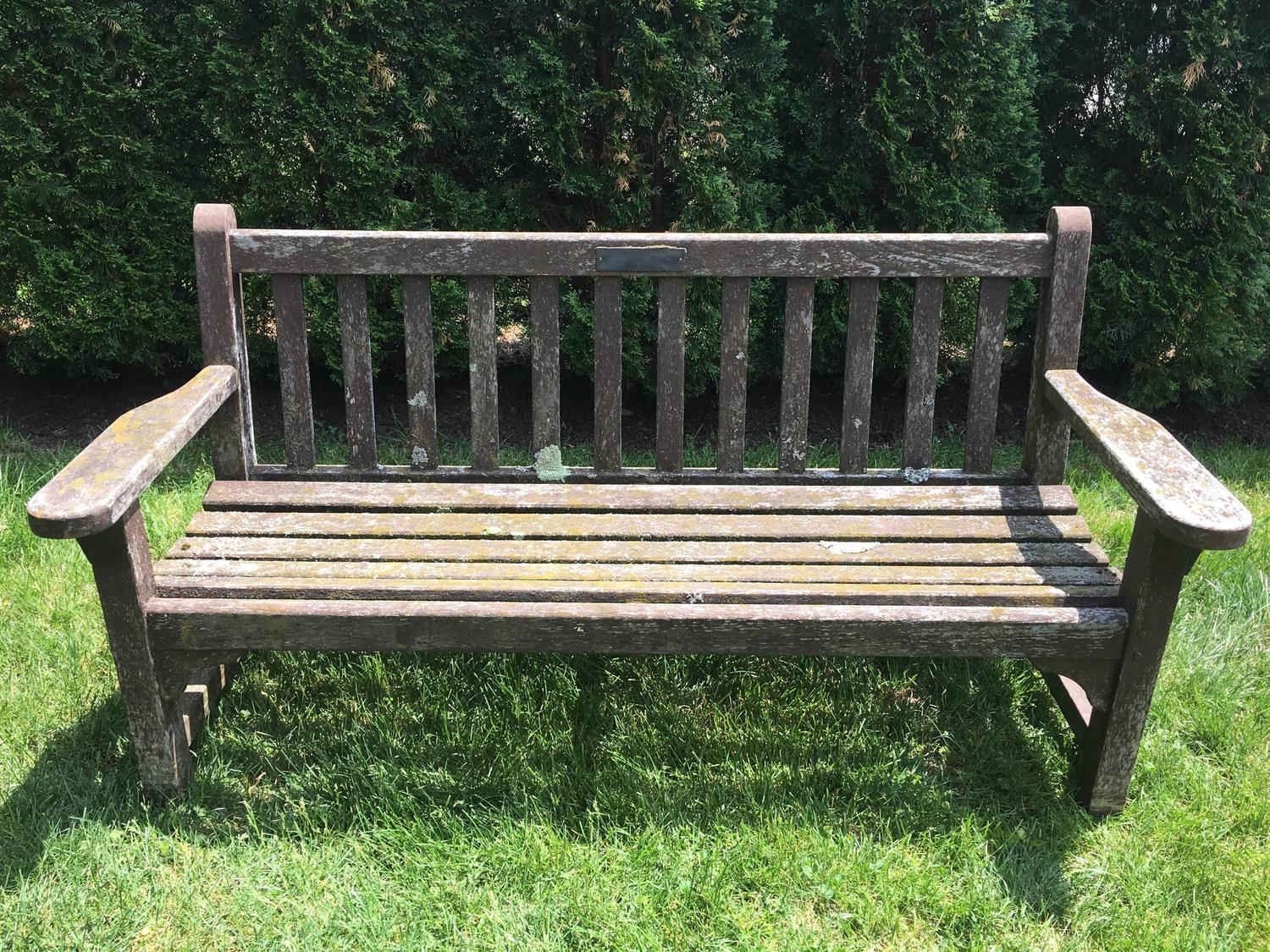 pair of english painted teak garden benches at 1stdibs
