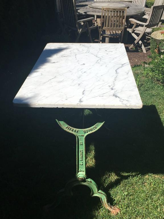 Signed French Iron Conservatory Table With Marble Top At