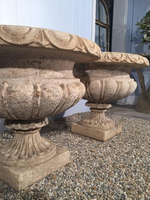 Set of Four Large Carved Limestone Urns from Michael and Diandra Douglas Estate In Good Condition For Sale In Woodbury, CT