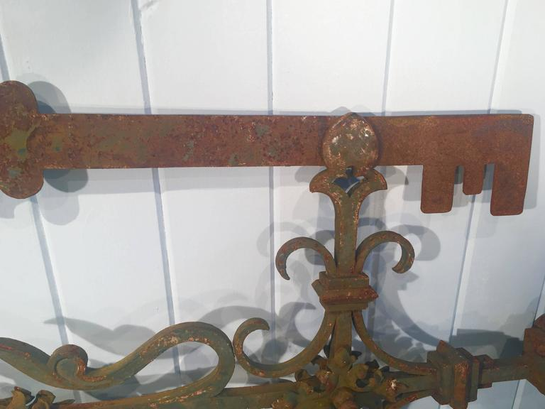Wrought Iron Outstanding 19th Century, French Key Maker's Trade Sign For Sale