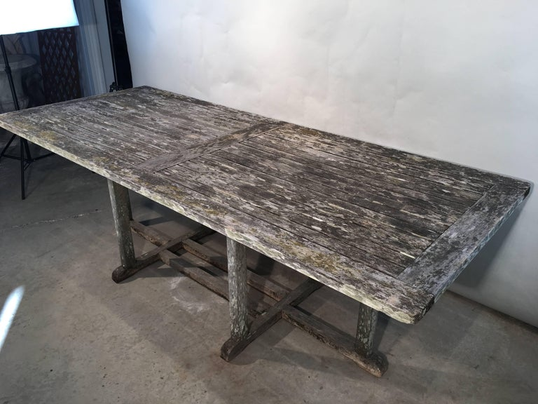 Long English Rectangular Teak Dining Table In Good Condition For Sale In Woodbury, CT