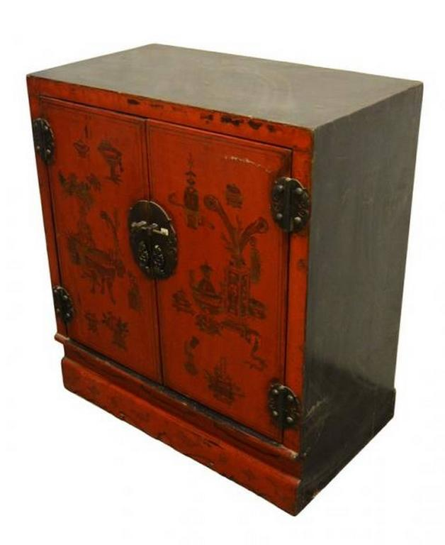 Antique red lacquer chinese side cabinet for sale at 1stdibs for Red chinese furniture