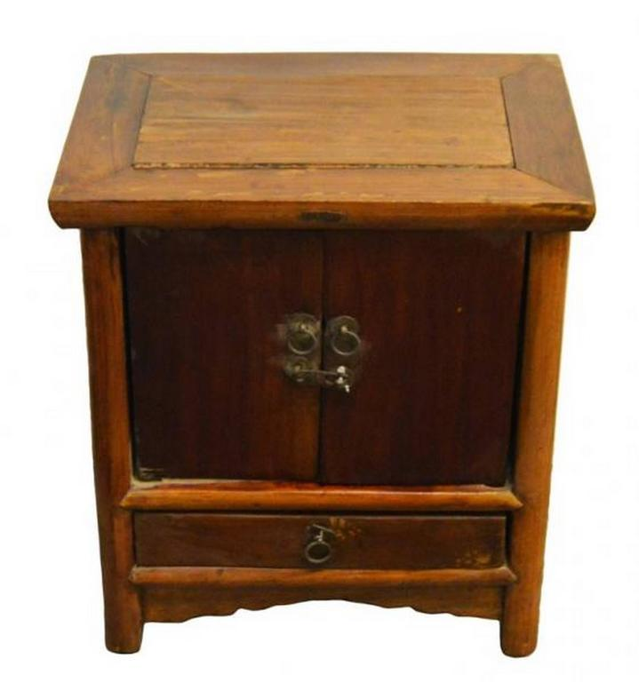 Genial Antique Brown Lacquer Bedside Cabinet With Brass Hardware, 19th Century  China