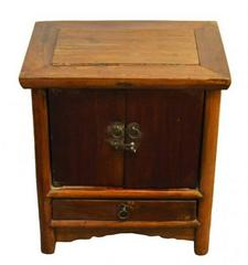 Antique Brown Lacquer Bedside Cabinet with Brass Hardware, 19th Century China