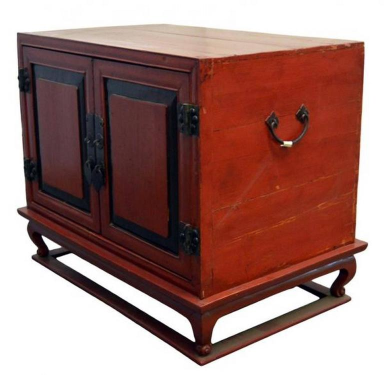 Lacquered Antique Red Lacquer Bedside Cabinet with Hardware from Mid 19th Century China For Sale